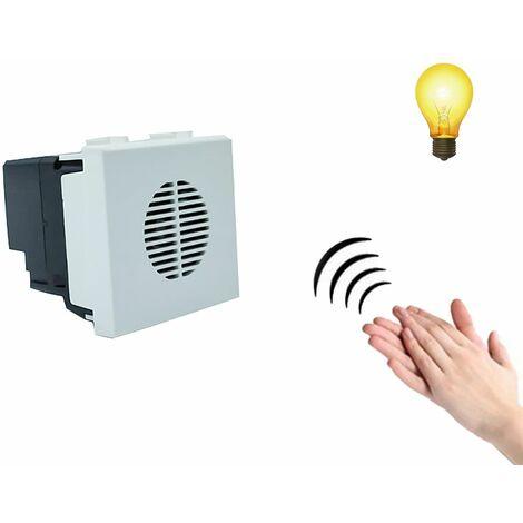 Modulo interruttore acustico bianco comando vocale suono luci battito mani C2220