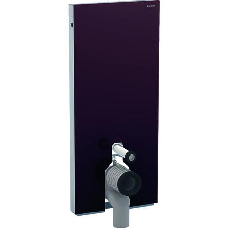 Módulo sanitario Geberit Monolith para WC de pie, 114cm, conexión de agua en el centro, con curva de conexión P, color: La umbra de vidrio - 131.033.SQ.5