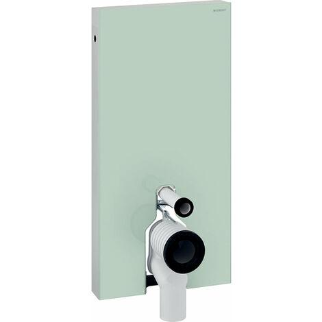 Módulo sanitario Geberit Monolith para WC independiente, 101cm, conexión lateral de agua, con pieza de conexión P, color: Vidrio blanco / aluminio - 131.003.SI.5