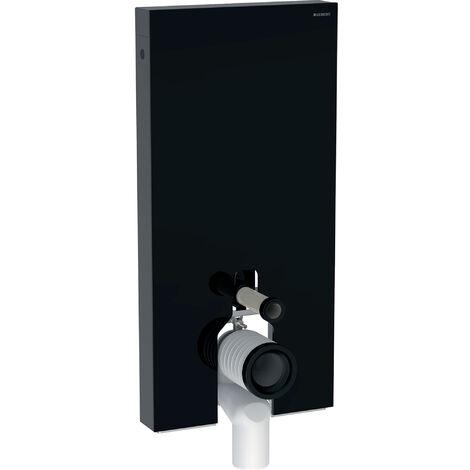 Módulo sanitario Geberit Monolith para WC independiente, 101cm, conexión lateral de agua, con pieza de conexión P, color: Vidrio Negro - 131.003.SJ.5
