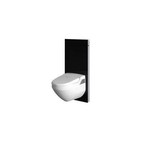 Módulo sanitario Geberit Monolith para WC mural, 101cm, conexión de agua lateral, con pieza de conexión, color: Vidrio Negro - 131.022.SJ.5