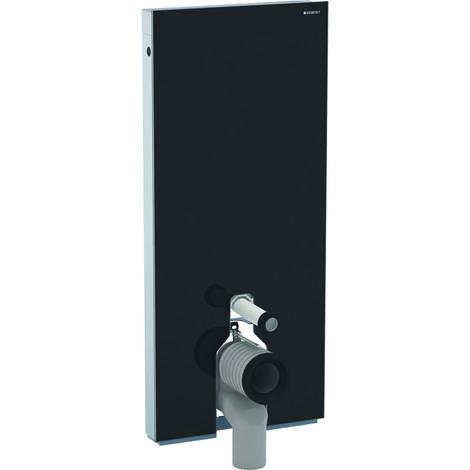 Modulo sanitario Geberit Monolith per WC a pavimento, 114 cm, attacco acqua al centro, con curva di collegamento a P, colorazione: Vetro Nero - 131.033.SJ.5