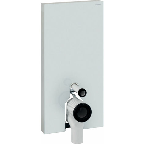 Módulo sanitario Geberit Monolith PLUS para WC independiente, 101cm, conexión lateral de agua, con pieza de conexión P, color: Vidrio Blanco - 131.203.SI.5