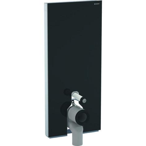 Módulo sanitario Geberit Monolith PLUS para WC independiente, 114cm, conexión de agua en la parte trasera, céntrico, con codo de conexión, color: Vidrio Negro - 131.233.SJ.5