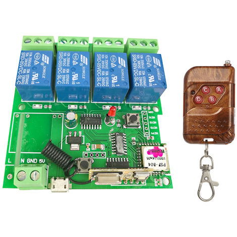 Modulo universal del interruptor de control remoto 433Mhz, 4 canales DC 5V
