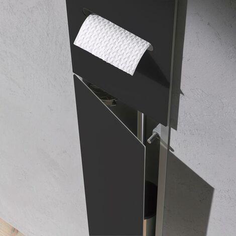 Módulo WC Emco asis 2.0 - modelo empotrado, portarrollos, 1 puerta con ranura, bisagra de puerta con bisagra a la izquierda, color: aluminio/negro - 975427551