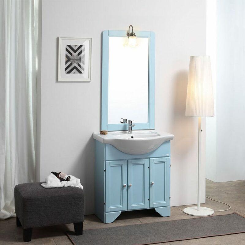 Möbel Auf Dem Boden Badmöbel Gebeizt Blau Lavendel 75 Cm