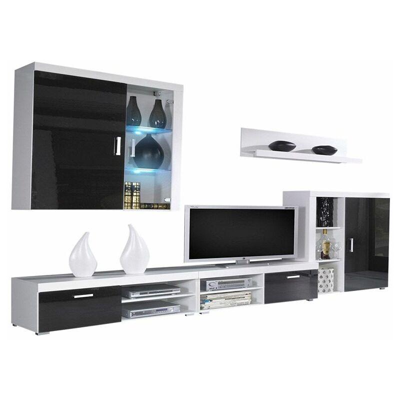 Innovation - Möbel-Set, Oberschrank Wohnzimmermöbel, TV-Möbel, Esszimmer, Modernes Wohnzimmer-Set mit LED-Beleuchtung, schwarz lackiert und weiß
