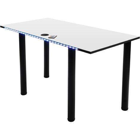 MÖBEL SYSTEM Gaming Schreibtisch mit LED Beleuchtung, Computertisch, PC-Schreibtisch, Gamertisch, Kabelmanagementsystem/Kabeldurchführung:weiß