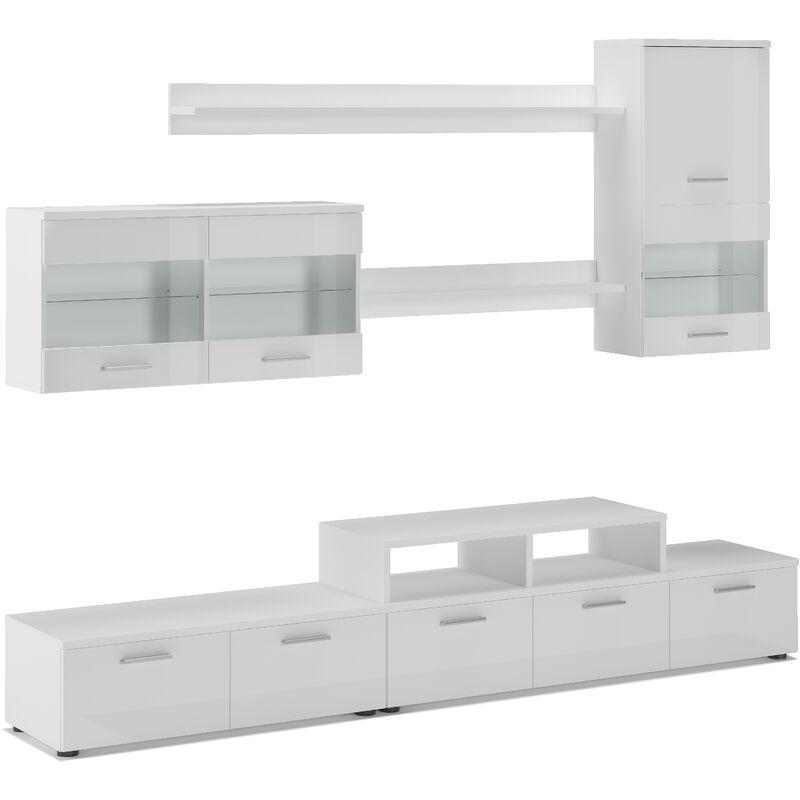Innovation - Möbel TV - Möbel set- Glanzlack Wohnwand, Wohnzimmer, Wohnzimmerschrank, Anbauwand, Esszimmer mit LEDs, weiß matt und weiß lackiert,