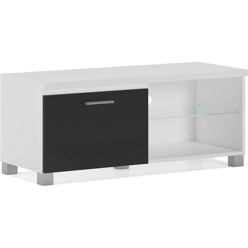 Innovation - Möbel, TV-Schrank, Fernsehtisch, LED, Wohnzimmer, in den Farben Weiß und Schwarz glänzend lackiert. Maßnahmen: 100x40x42 cm