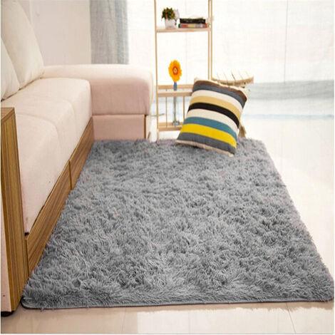 Moelleux tapis anti-dérapant Shaggy zone tapis salle à manger maison chambre tapis tapis de sol bricolage gris clair gris 80x120 cm