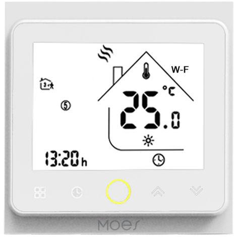 MOES, controlador de temperatura del termostato wifi, 16A compatible con Alexa / Google Home, Blanco