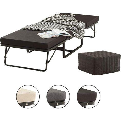 MOG CASA Divan 2 en 1 - Cama de Invitados Estructura metálica Estable y colchón - Negro