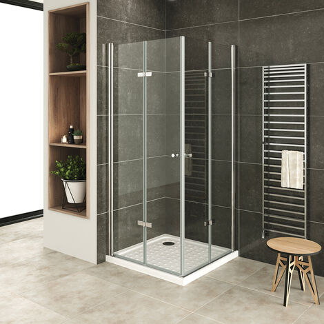 MOG Mampara de Ducha 70x70 cm altura: 180 cm Cabina de ducha con Apertura de Puerta plegable 6mm Vidrio transparente de seguridad – DK99