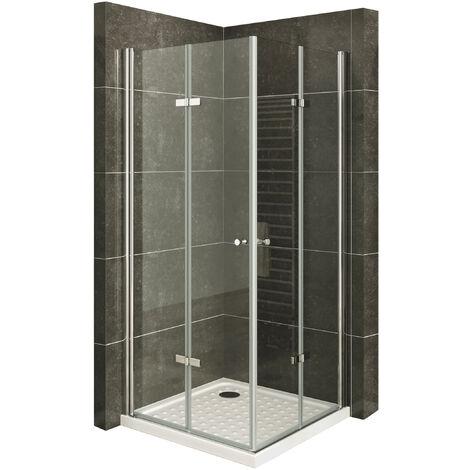 MOG Mampara de Ducha altura 180 cm con plato de ducha Cabina de ducha con Apertura de Puerta plegable 6mm Vidrio transparente de seguridad – DK99