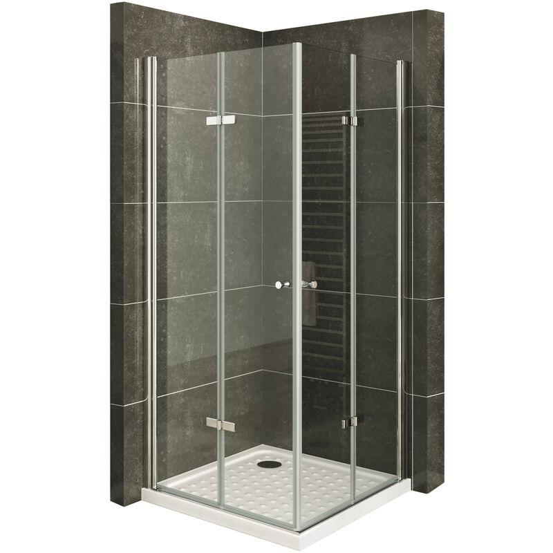 MOG Mampara de Ducha DK99 altura: 190 cm Cabina de ducha con Apertura de Puerta plegable 6mm Vidrio transparente de seguridad - 80x95