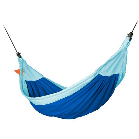 Moki Dolphy - Hamac enfant en coton bio avec fixation - Bleu / turquoise
