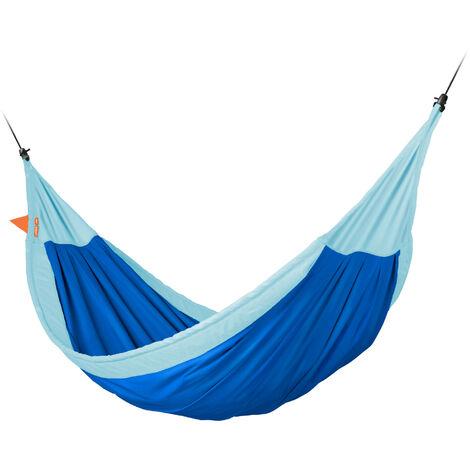 Moki Dolphy - Hamac enfant max en coton bio avec fixation - Bleu / turquoise