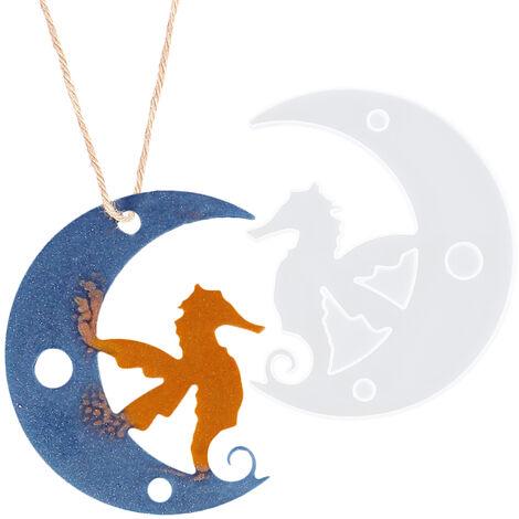 Molde de silicona Luna Animales Colgante Resina Epoxi moldea DIY arte hecho a mano accesorios de joyeria, 4 #