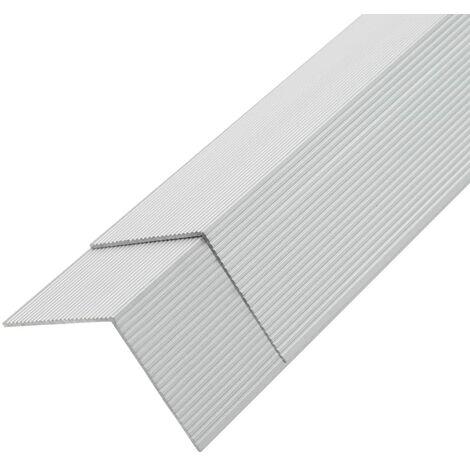 Moldura de ángulo de porche aluminio 5 unidades 170 cm plateado