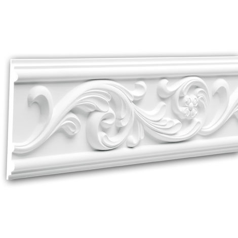 Moldura para pared 151325 Profhome Perfil de estuco Moldura decorativa Moldura decorativa pared estilo Rócoco Barroco blanco 2 m