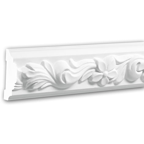 Moldura para pared 151326 Profhome Perfil de estuco Moldura decorativa Moldura decorativa pared estilo Rócoco Barroco blanco 2 m