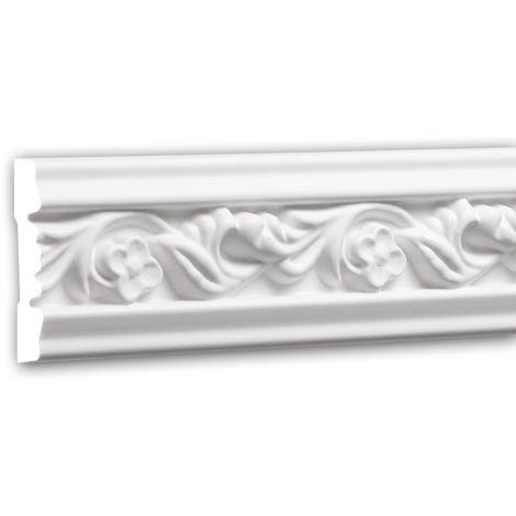 Moldura para pared 151339 Profhome Perfil de estuco Moldura decorativa Moldura decorativa pared estilo Rócoco Barroco blanco 2 m