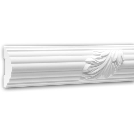 Moldura para pared 151361 Profhome Perfil de estuco Moldura decorativa Moldura friso diseño atemporal clásico blanco 2 m