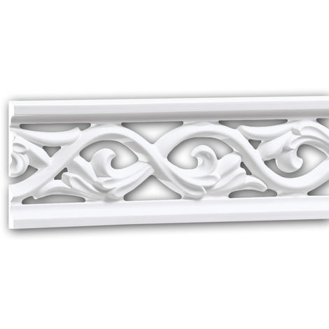 Moldura para pared 151364 Profhome Perfil de estuco Moldura decorativa Moldura friso estilo Rócoco Barroco blanco 2 m