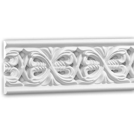 Moldura para pared 151365 Profhome Perfil de estuco Moldura decorativa Moldura friso estilo Rócoco Barroco blanco 2 m