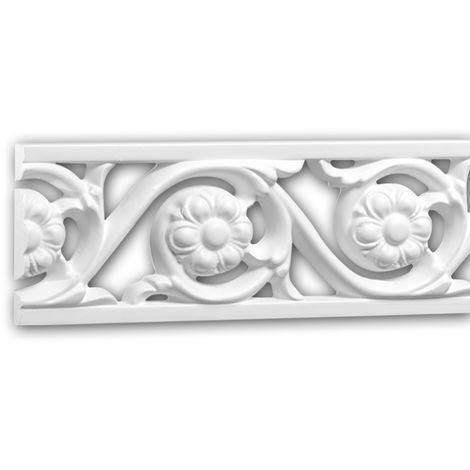 Moldura para pared 151369 Profhome Perfil de estuco Moldura decorativa Moldura friso estilo Rócoco Barroco blanco 2 m
