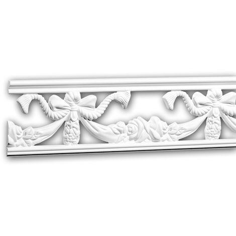Moldura para pared 151371 Profhome Perfil de estuco Moldura decorativa Moldura friso estilo Neoimperio blanco 2 m