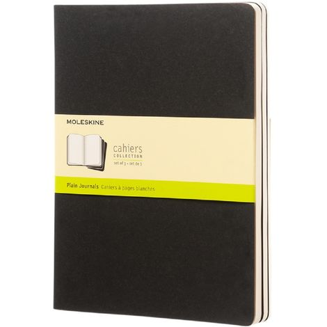 Moleskine Cahier XL Plain Journal (One Size) (Solid Black)
