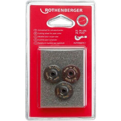 Molette de rechange pour coupe-tubes en matièresynthétique 2.5/8 3molettes Rothenberger