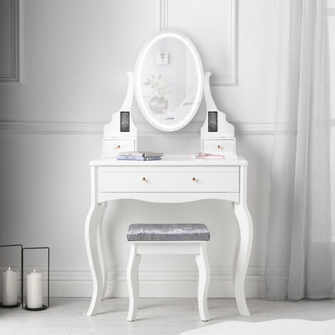 Molly LED Mirror Dressing Table with Bluetooth Speakers