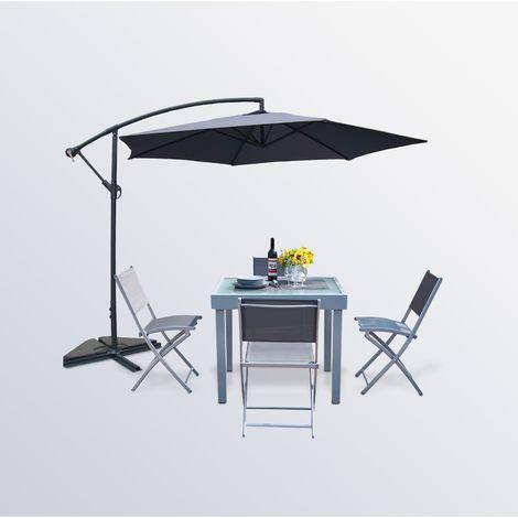 Molvina 4 + Porticcio Gris : table de jardin extensible aluminium + ...