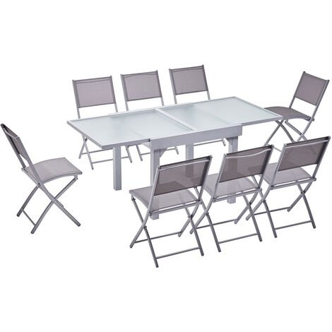 Molvina 8 : table de jardin extensible en aluminium 8 ...