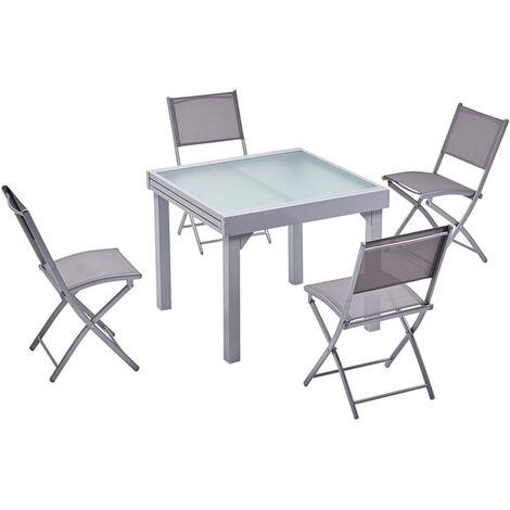 Molvina 8 : table de jardin extensible en aluminium 8 personnes + 8 chaises - Gris