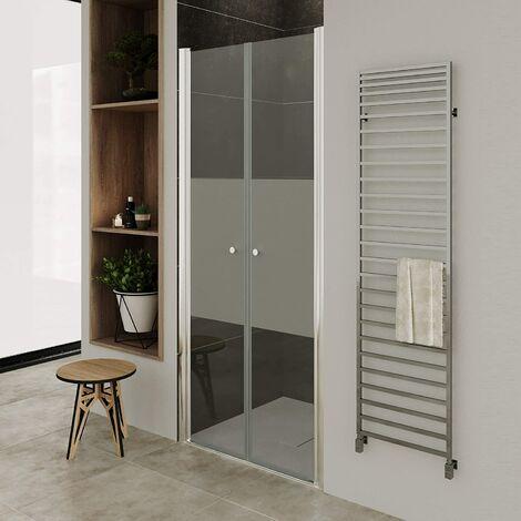 Moments of Glass Mampara de ducha con puerta doble abatible e vidrio parcialmente satinado de 6mm altura: 195cm DTMF