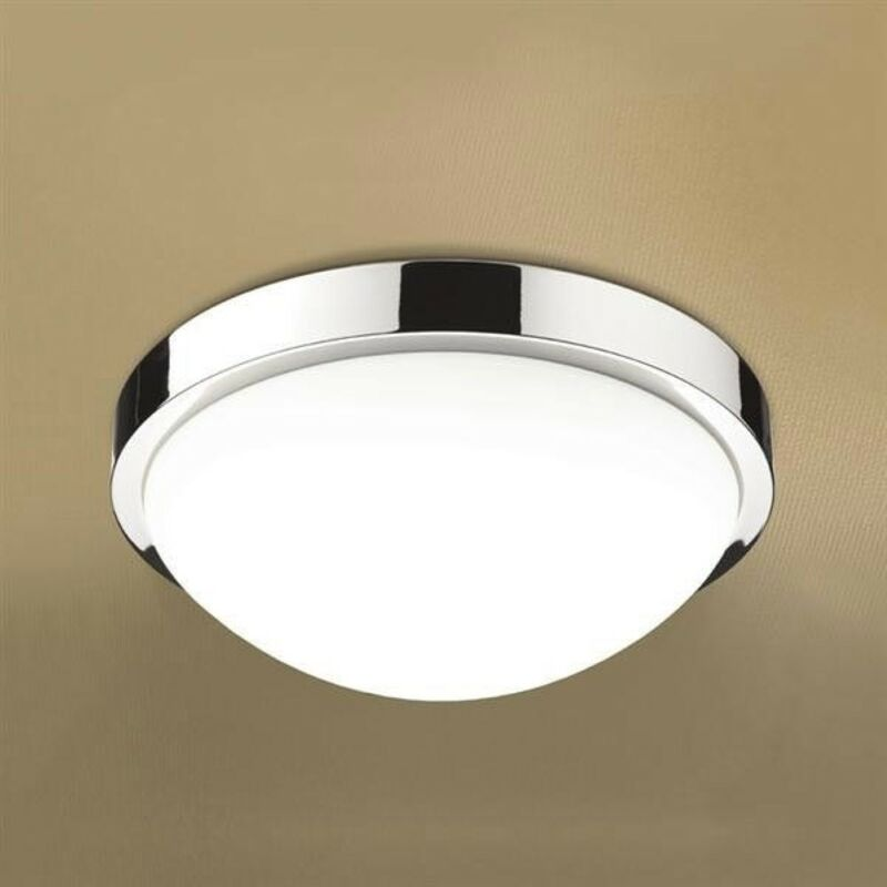 Image of Momentum LED Illuminated Round Ceiling Light with Chrome Detail & Diffused Shade - HIB