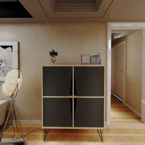Momentum Multiuse Cabinet - with Doors, Shelves - for Living Room, Hall - Oak, Black, made in Wood, 90 x 30 x 110 cm