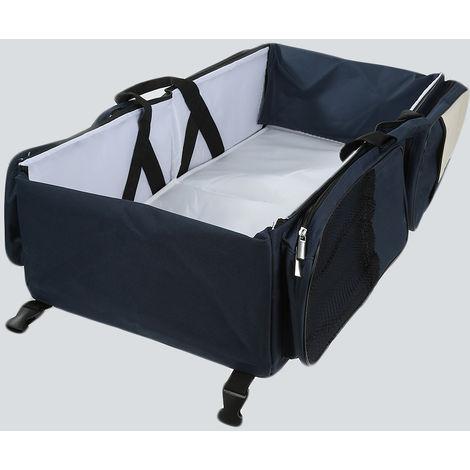 Momia plegable portátil que cambia la cuna del bolso de la cama del pañal del bebé para el viaje-azul marino