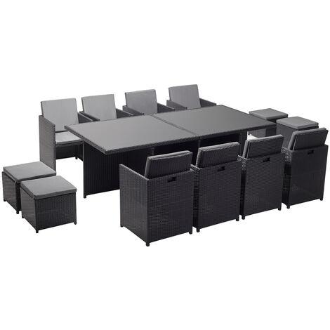 Monaco 12 : salon de jardin encastrable 12 places en résine tressée noir/blanc