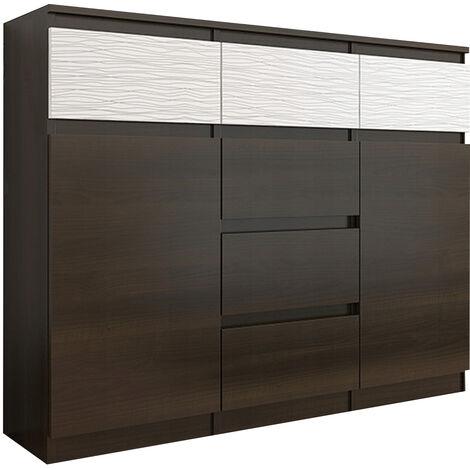 MONACO 1W - Commode contemporaine meuble rangement chambre/salon - 120x40x98 cm - 6 tiroirs + 2 portes - Buffet séjour Dressing - Wenge/Blanc