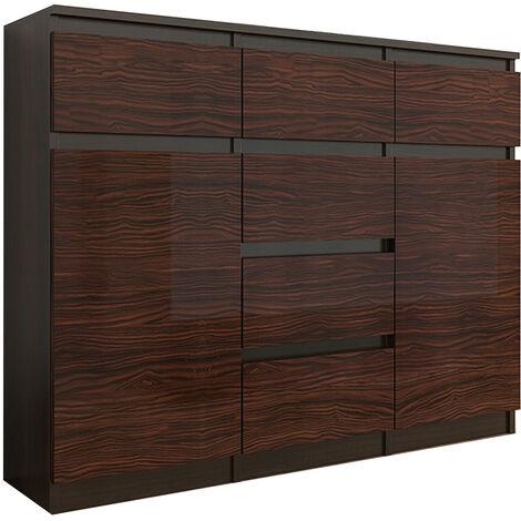 MONACO 2W - Commode contemporaine meuble de rangement - 120x40x98 cm - 6 tiroirs/2 portes - Finition Gloss - Buffet séjour Dressing - Wenge/Eben