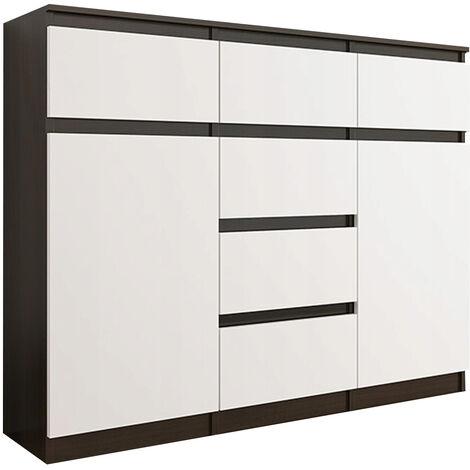 MONACO 3W - Commode contemporaine meuble rangement chambre/salon - 120x40x98 cm - 6 tiroirs 2 portes/niches - Buffet séjour - Wenge/Blac Gloss