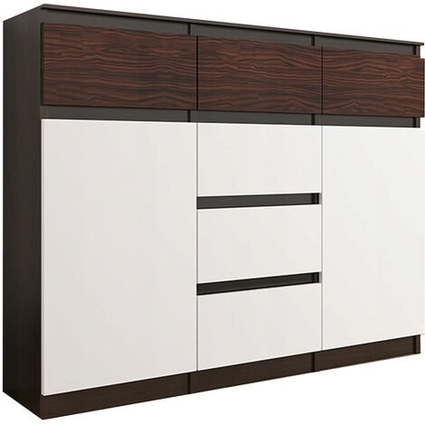 MONACO 3W - Commode contemporaine Meuble tendance rangement - 120x40x98 cm - 6 tiroirs 2 portes - Finition Gloss - Buffet séjour - Wenge/Blanc/Eben