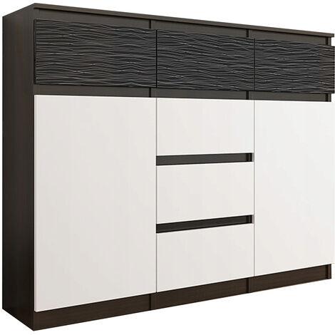 MONACO 3W - Commode Meuble de rangement chambre/salon/bureau - 120x40x98 - 6 tiroirs 2 portes - Finition Gloss - Buffet séjour - Wenge/Blanc/Noir