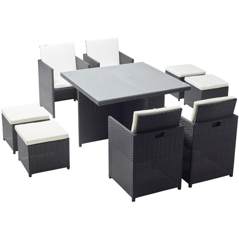 Monaco 8 : salon de jardin encastrable 8 places en résine tressée noir/blanc